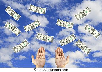Money fly in sky