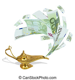 Money fly out of Aladdin's magic lamp