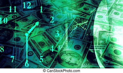 Money fly Over and Charts Blue Green Loop