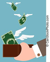 Money Flying Away - Dollars are sprouting wings and flying...