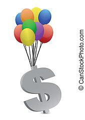money flying away illustration design
