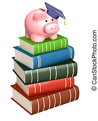 Money for education - Piggy bank with cap and books. Objects...
