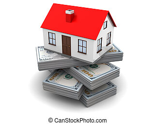 money for house - 3d illustration of money for home concept