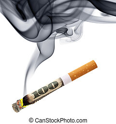 Money for smoking - Costs of smoking - cigarette stub with...