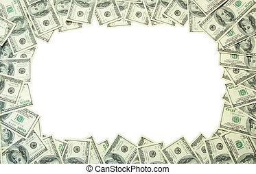 money frame - Frame made of money isolated on white...