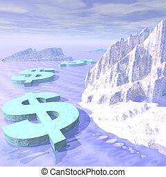 Illustration of frozen dollar signs in ocean with icebergs