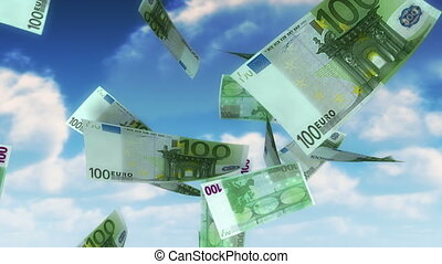100 Euro bills falling from sky. Seamless loop, slight motion blur for realistic movement.