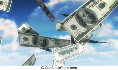 100 dollars bills falling from sky. Seamless loop, slight motion blur for realistic movement.
