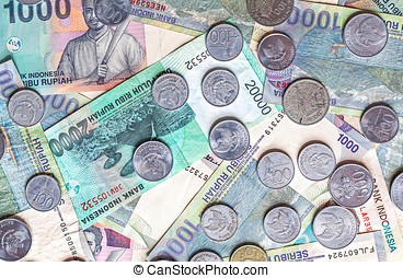 Currency coins indonesia  Collateral word on white blank