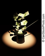 Money from nowhere. magic. 3d
