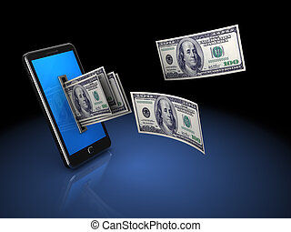 money from phone - 3d illustration of mobile phone with...