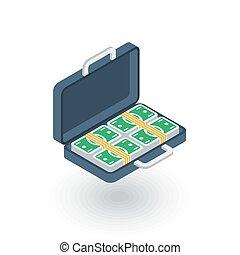 money full case, banking, dollar cash, finance isometric flat icon. 3d vector