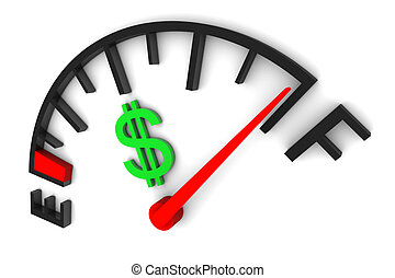 Money Gauge Full - Money sign gauge full illustration on...