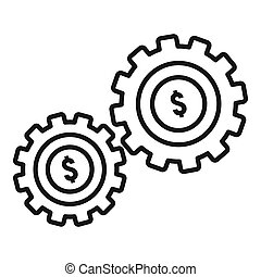 Money gear icon, outline style