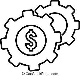 Money gear system icon, outline style