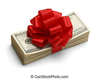 Money Gift - Christmas Bonus Stack of Cash With Red Bow...