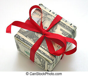 gift wrapped in money with red ribbon