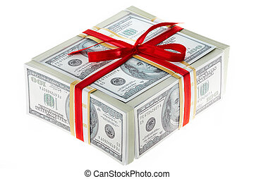 Money gift - Photo of box made up of dollars decorated with...