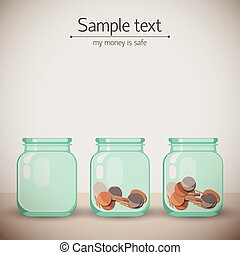 Money Glass Jars Background - Two money glass jars with...