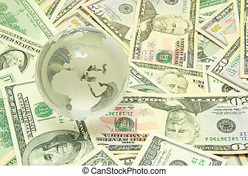 money - globe isolated on a dollars background
