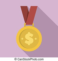 Money gold medal icon, flat style