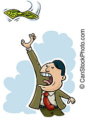 Money Grab - A cartoon man reaches for cash money.