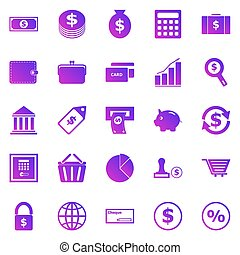 Money gradient icons on white background