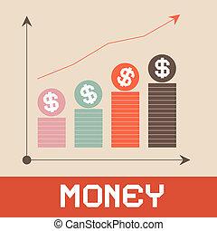 Money Graph Paper Retro Vector Illustration