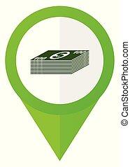 Money green flat pointer vector icon. Modern design web button in eps 10