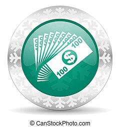 money green icon, christmas button, cash symbol