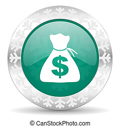 money green icon, christmas button