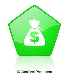 money green pentagon web glossy icon