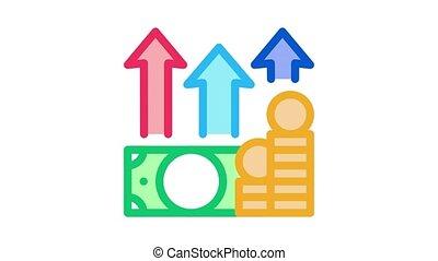 money growth arrows Icon Animation. color money growth arrows animated icon on white background