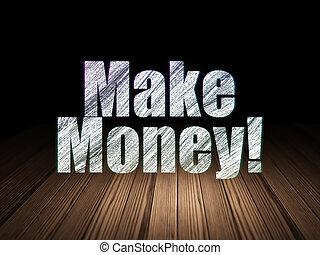money!, grunge, finance, faire, sombre, concept:, salle