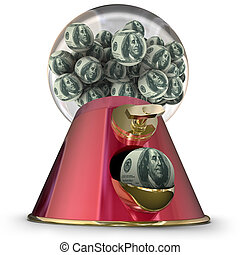 Money Gum Ball Machine Dispenser Easy Loan Borrow Funds Credit