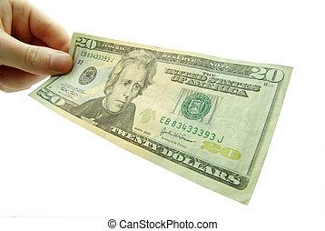 Hand hold 20 bill on white background