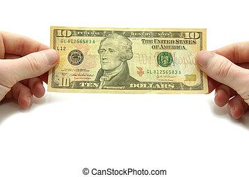 money - Hands hold 10 bill on white background