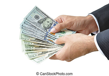 Money - hands holding banknotes - United States Dollars or USD