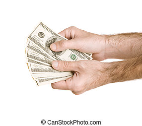 money - hands with us dollars isolated on white background