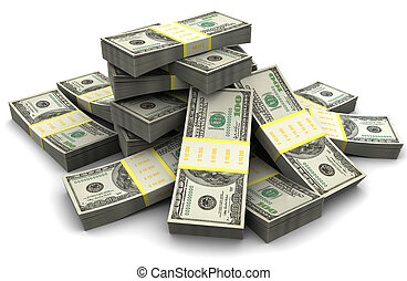 money heap - 3d illustration of dollar banknotes heap, over...