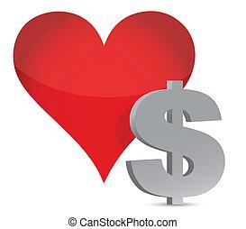 money heart currency illustration design over white