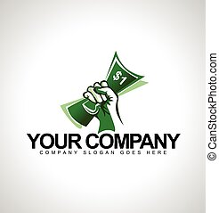 Money Held in Hand Logo. Logo design with one dollar and...