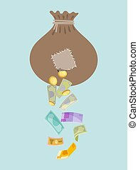 Money holey bag, thief stolen cash gold coin and dollars isolated on blue, flat vector illustration. Insure money deposit, loss financial wealth. Torn amount of mean monetary wallet.
