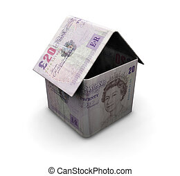 Money house - 3D render of a house made from money