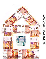 Money house of Russian banknotes on white