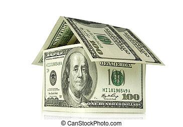 Money house on white background