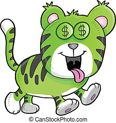 Money Hungry Tiger Vector
