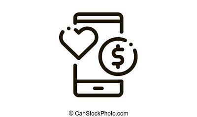 Money Icon Animation. black Money animated icon on white background