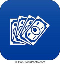 Money icon blue vector