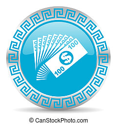 money icon - blue web button in greek style